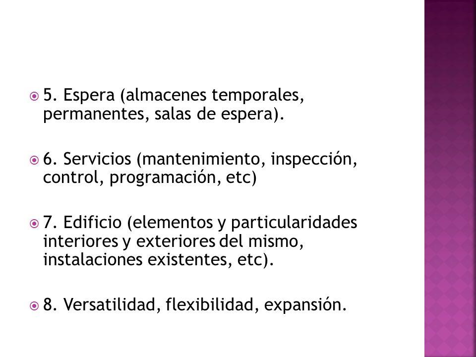 5. Espera (almacenes temporales, permanentes, salas de espera).