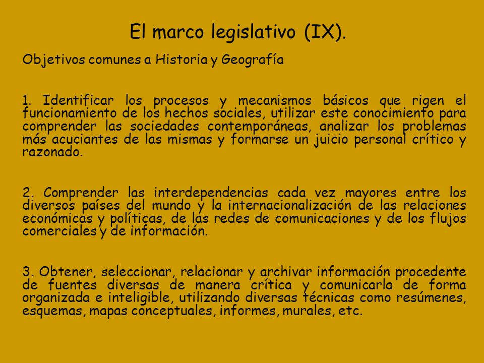 El marco legislativo (IX).