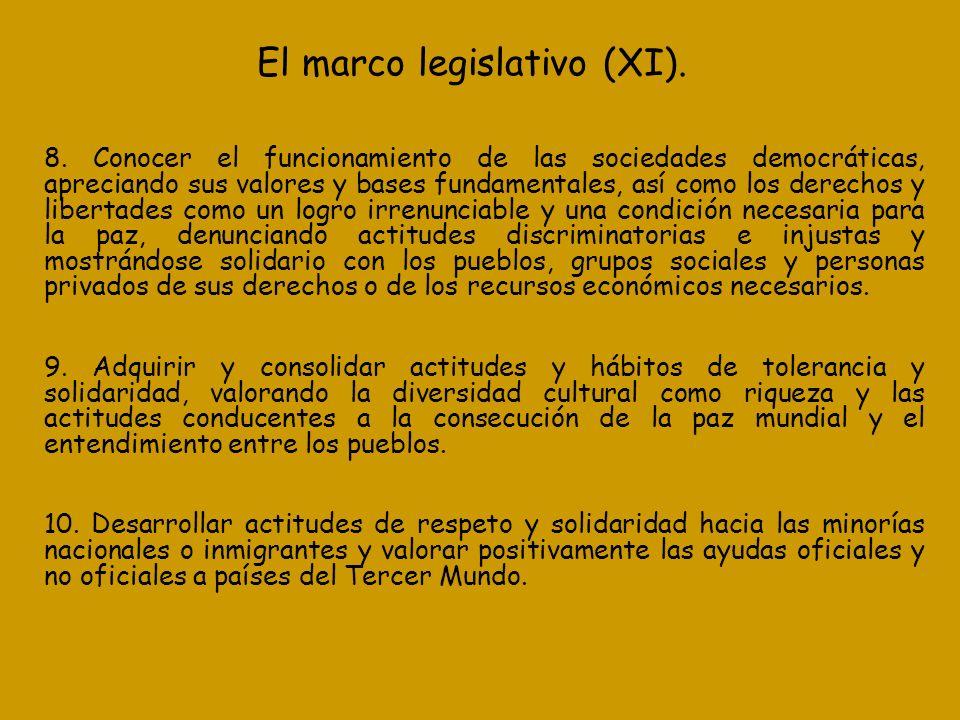 El marco legislativo (XI).