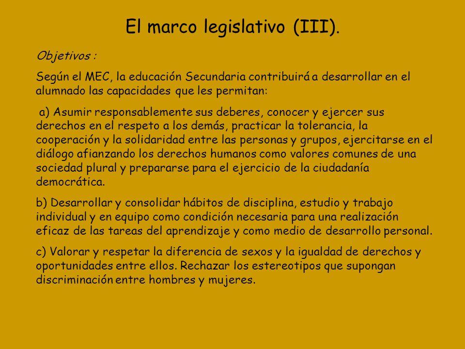 El marco legislativo (III).