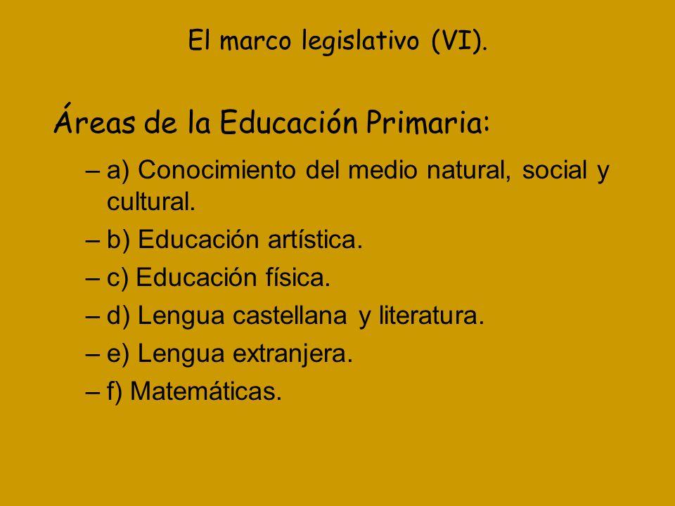 El marco legislativo (VI).