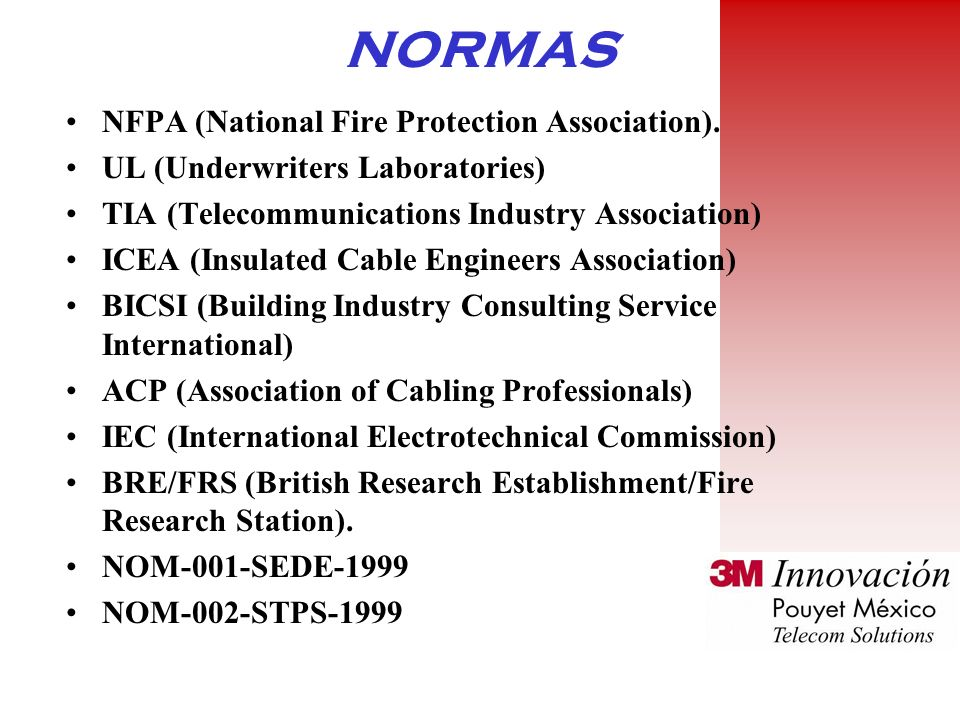 NORMAS NFPA (National Fire Protection Association).