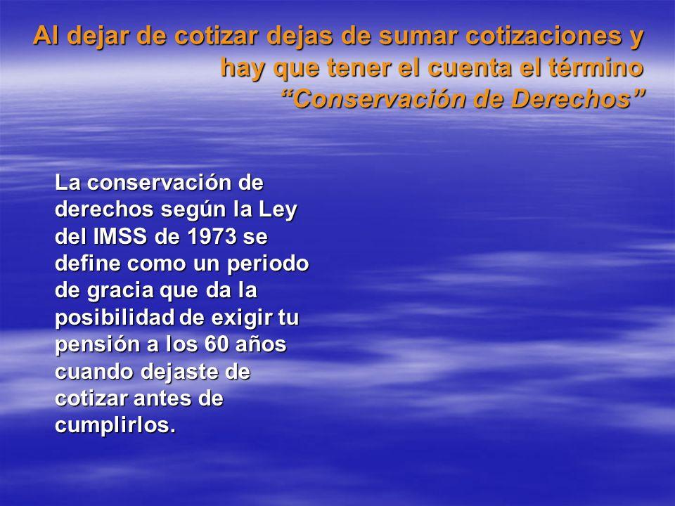 Al dejar de cotizar dejas de sumar cotizaciones y hay que tener el cuenta el término Conservación de Derechos