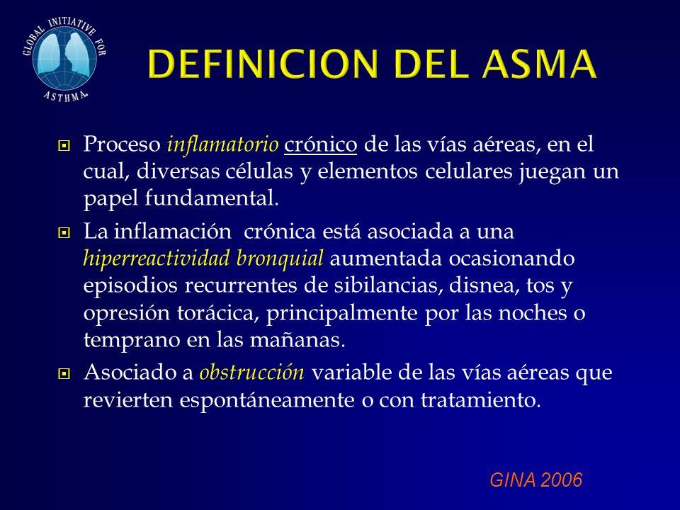 DEFINICION DEL ASMA Proceso inflamatorio crónico de las vías aéreas, en el cual, diversas células y elementos celulares juegan un papel fundamental.
