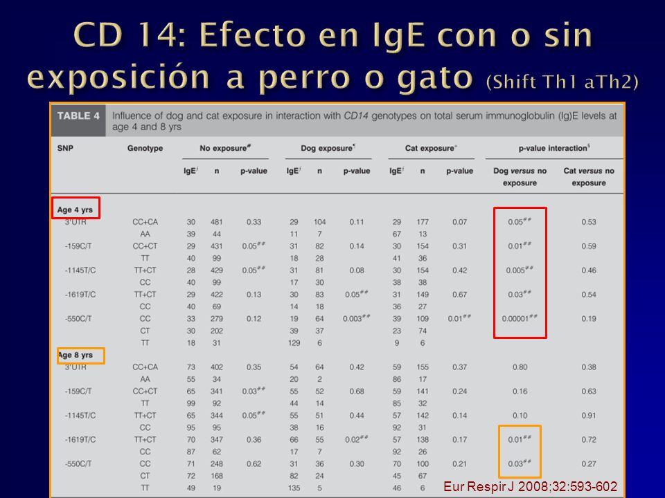 CD 14: Efecto en IgE con o sin exposición a perro o gato (Shift Th1 aTh2)
