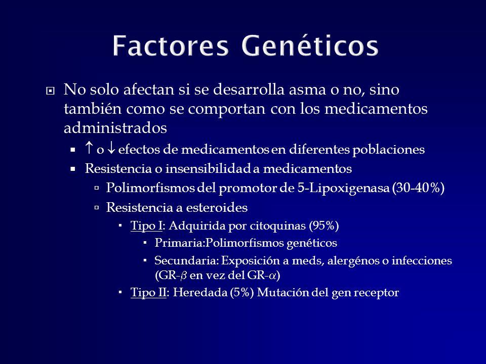 Factores Genéticos No solo afectan si se desarrolla asma o no, sino también como se comportan con los medicamentos administrados.