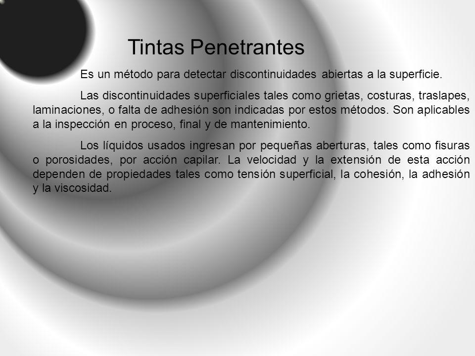 Tintas Penetrantes Es un método para detectar discontinuidades abiertas a la superficie.