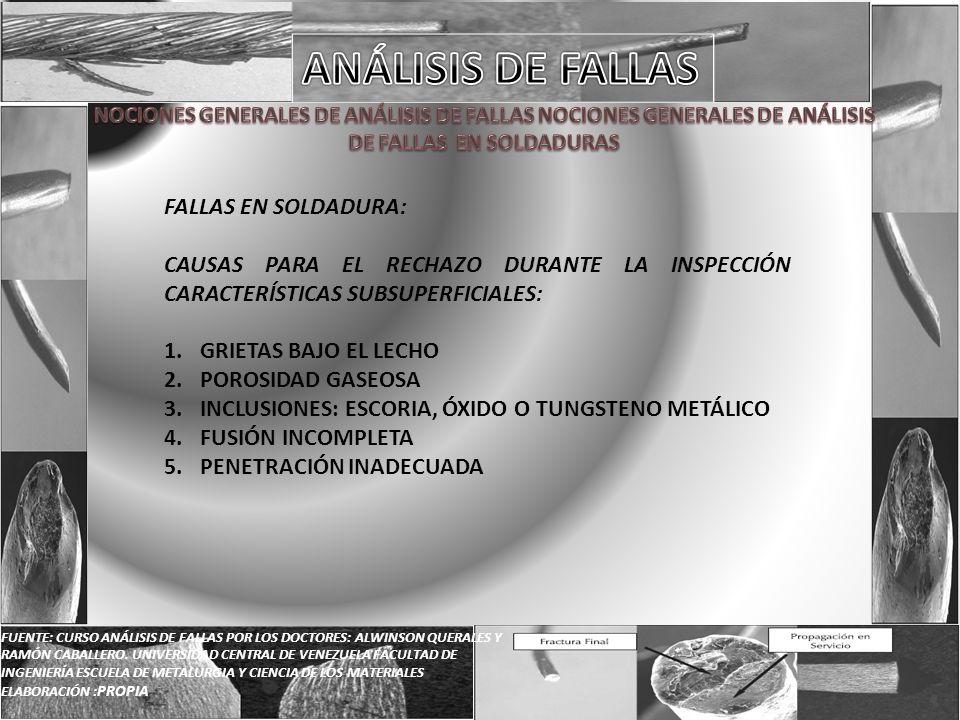 ANÁLISIS DE FALLAS FALLAS EN SOLDADURA: