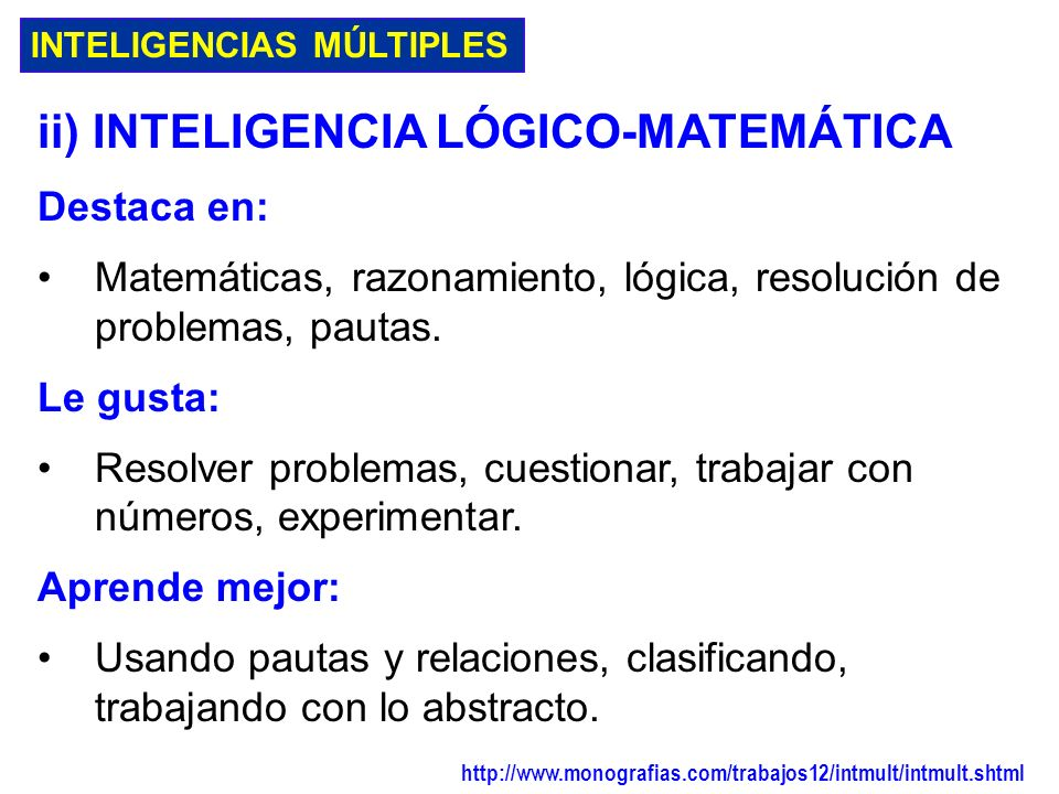ii) INTELIGENCIA LÓGICO-MATEMÁTICA