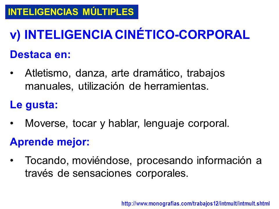 v) INTELIGENCIA CINÉTICO-CORPORAL