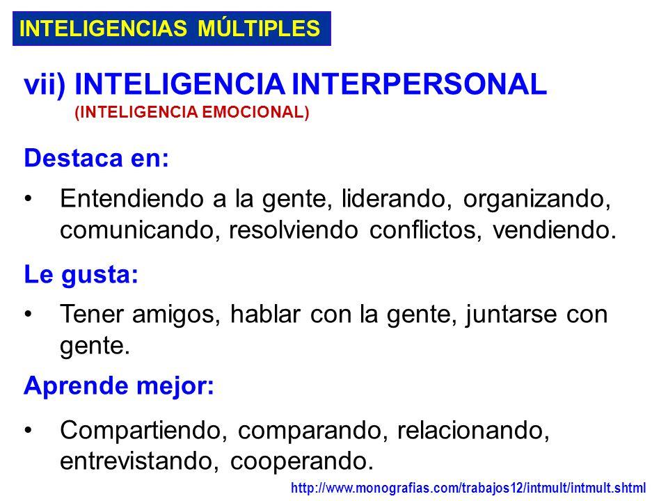 vii) INTELIGENCIA INTERPERSONAL