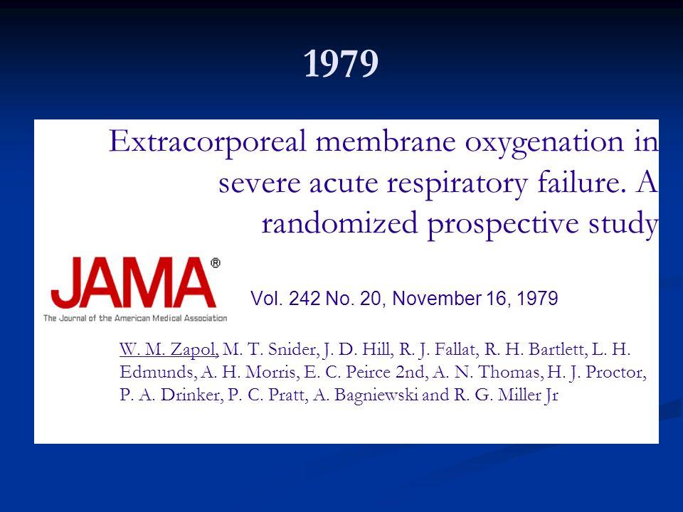 1979 Extracorporeal membrane oxygenation in severe acute respiratory failure. A randomized prospective study.
