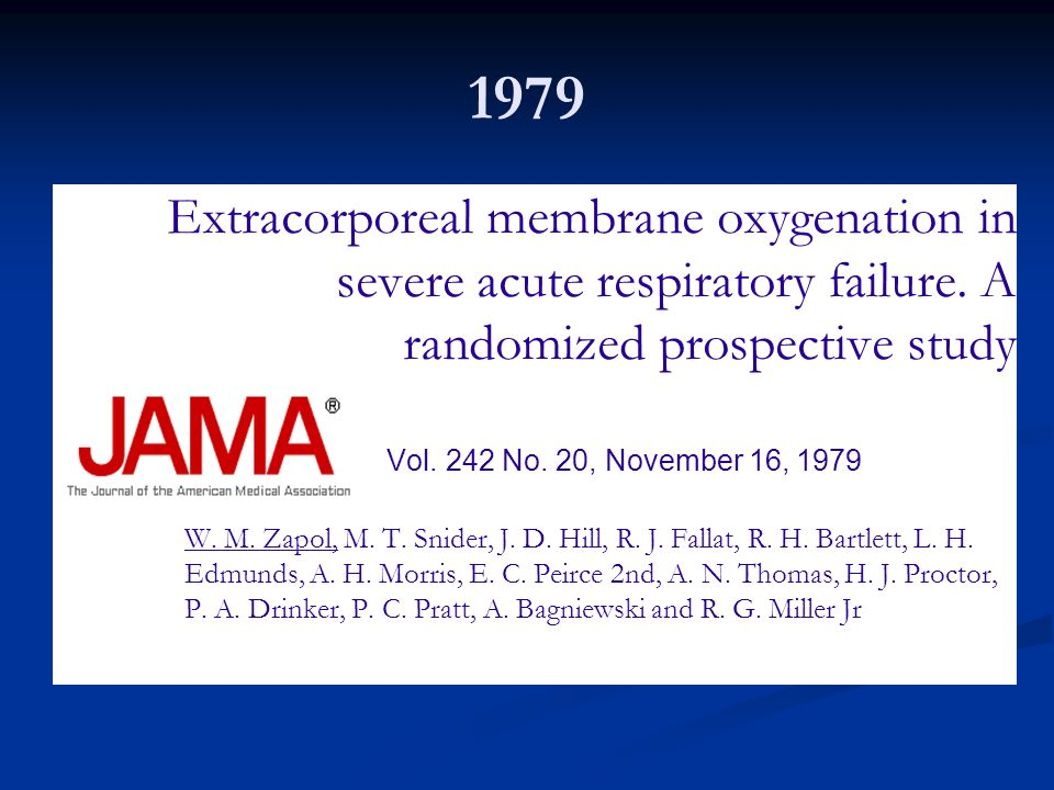 1979Extracorporeal membrane oxygenation in severe acute respiratory failure. A randomized prospective study.