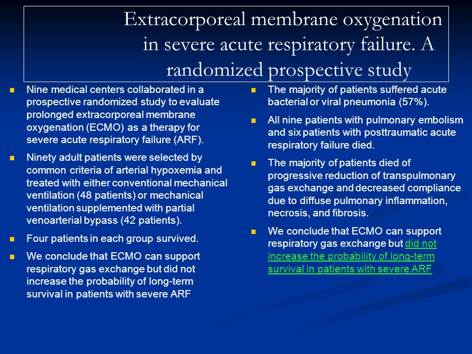 Extracorporeal membrane oxygenation in severe acute respiratory failure. A randomized prospective study
