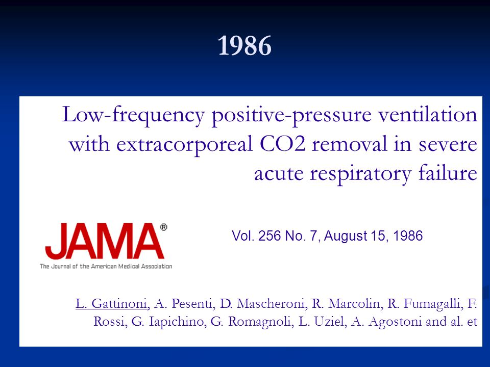 1986 Low-frequency positive-pressure ventilation with extracorporeal CO2 removal in severe acute respiratory failure.