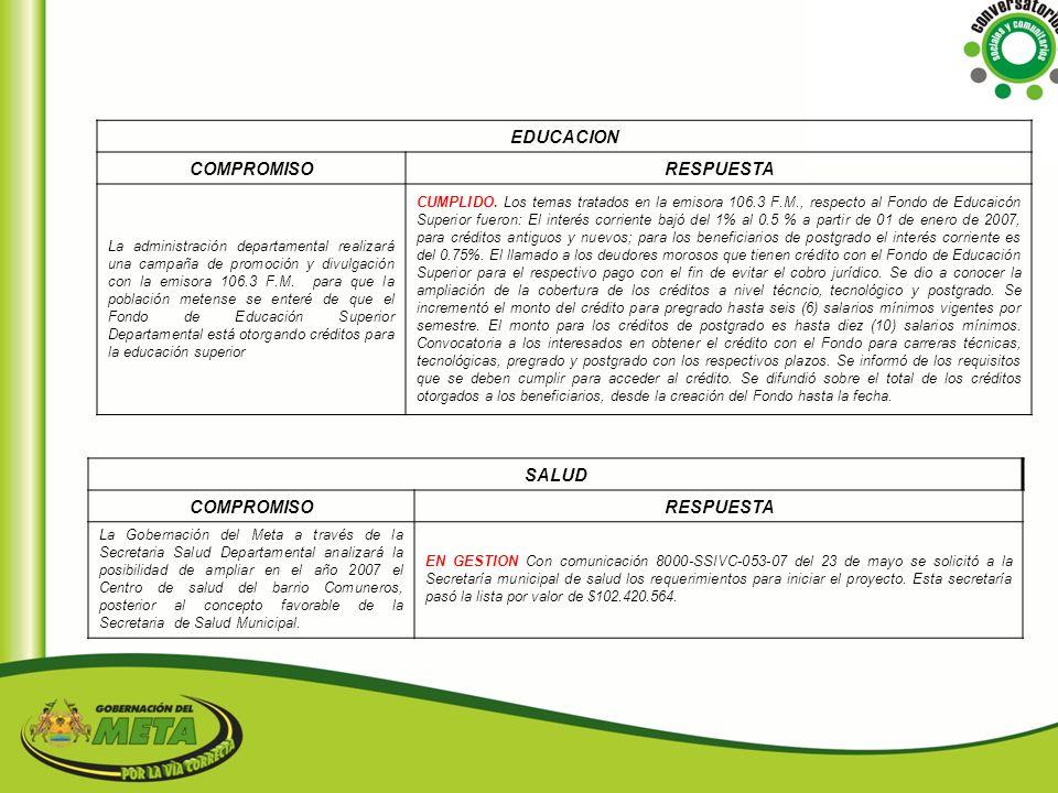 EDUCACION COMPROMISO RESPUESTA SALUD COMPROMISO RESPUESTA