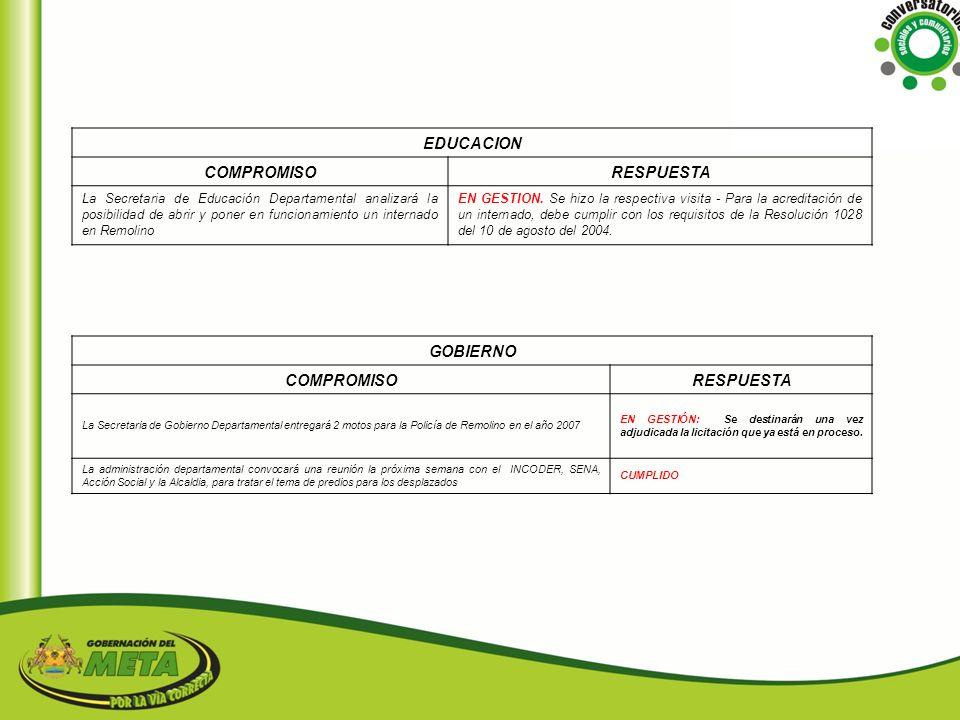 EDUCACION COMPROMISO RESPUESTA GOBIERNO COMPROMISO RESPUESTA