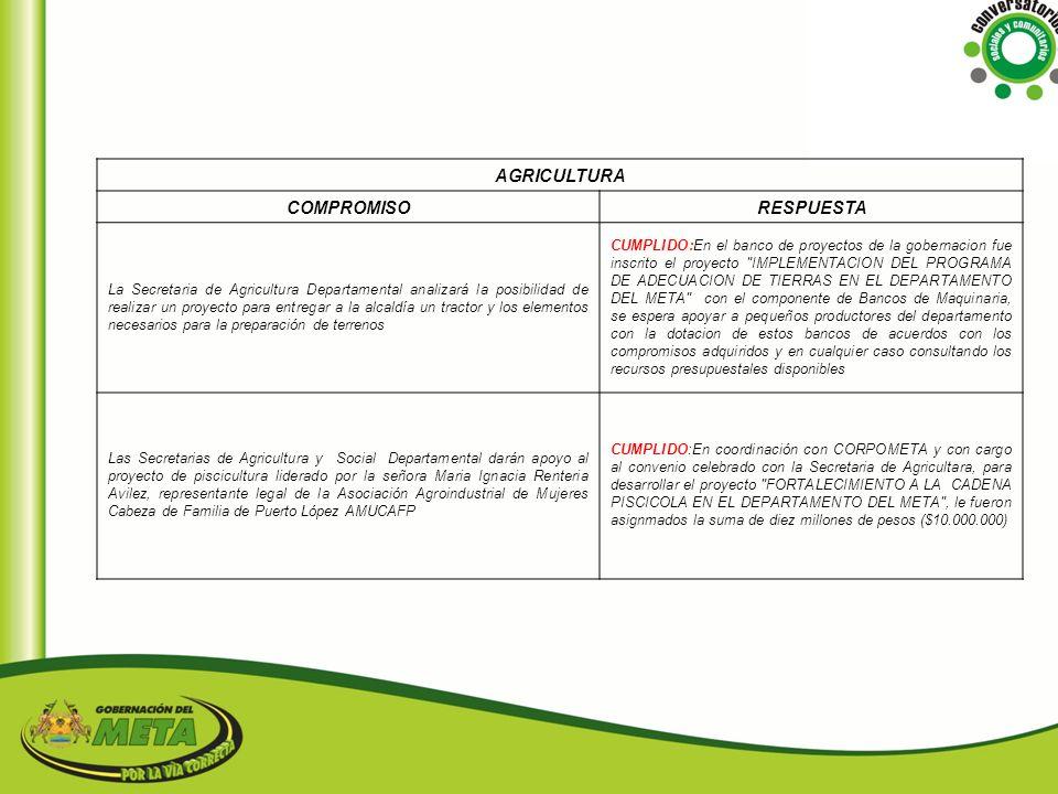 AGRICULTURA COMPROMISO RESPUESTA