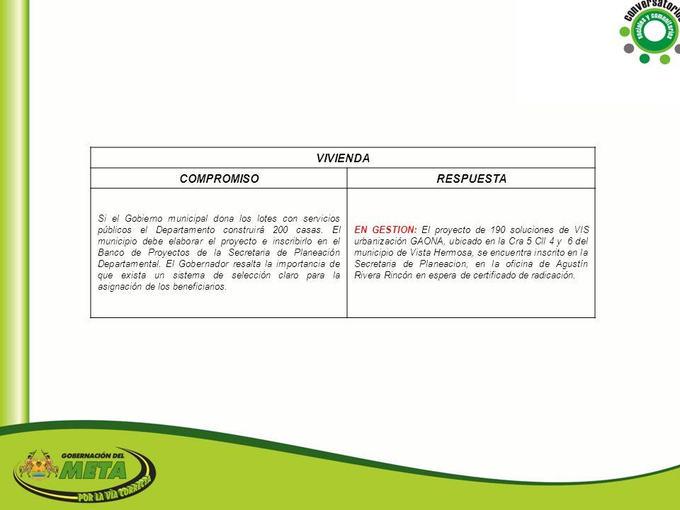 VIVIENDA COMPROMISO RESPUESTA