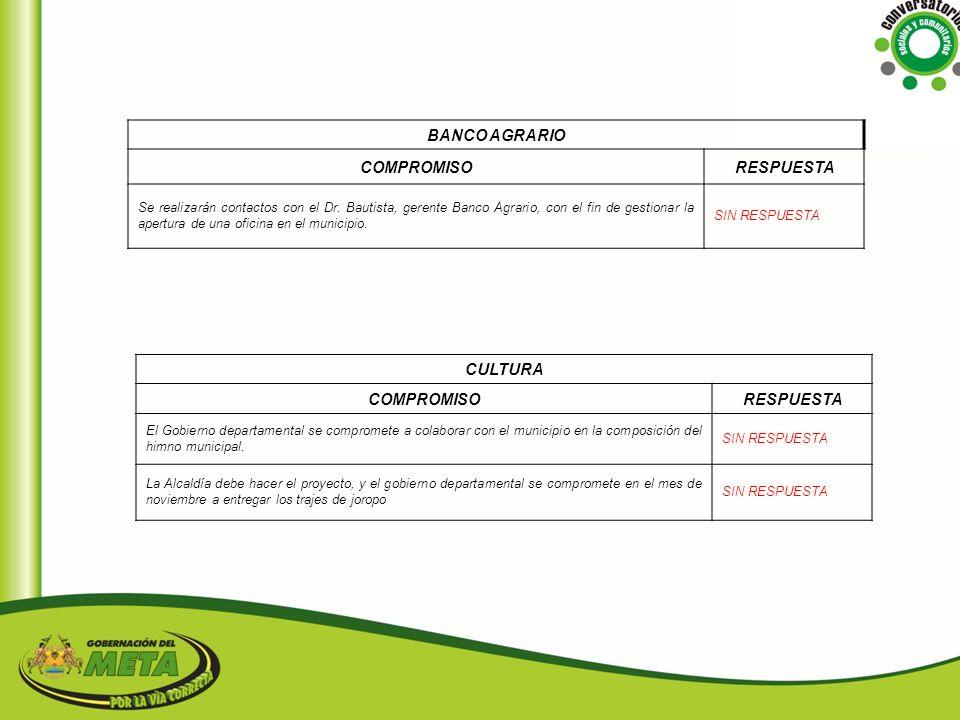 BANCO AGRARIO COMPROMISO RESPUESTA CULTURA COMPROMISO RESPUESTA