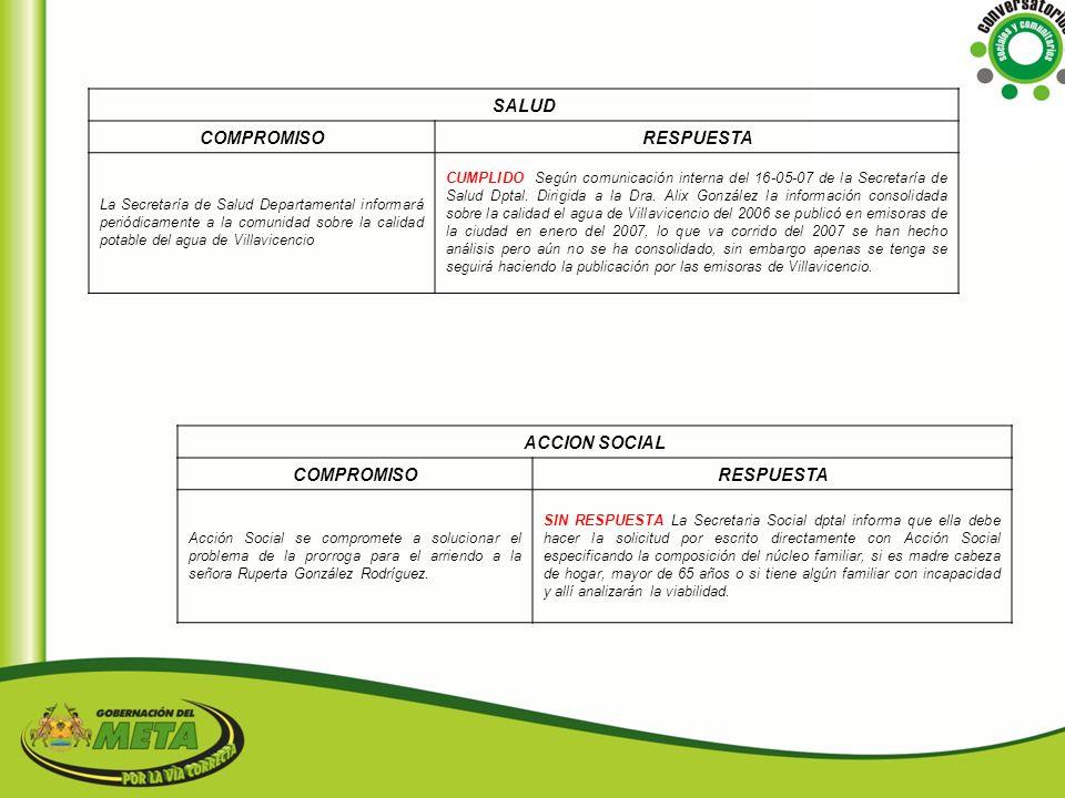 SALUD COMPROMISO RESPUESTA ACCION SOCIAL COMPROMISO RESPUESTA