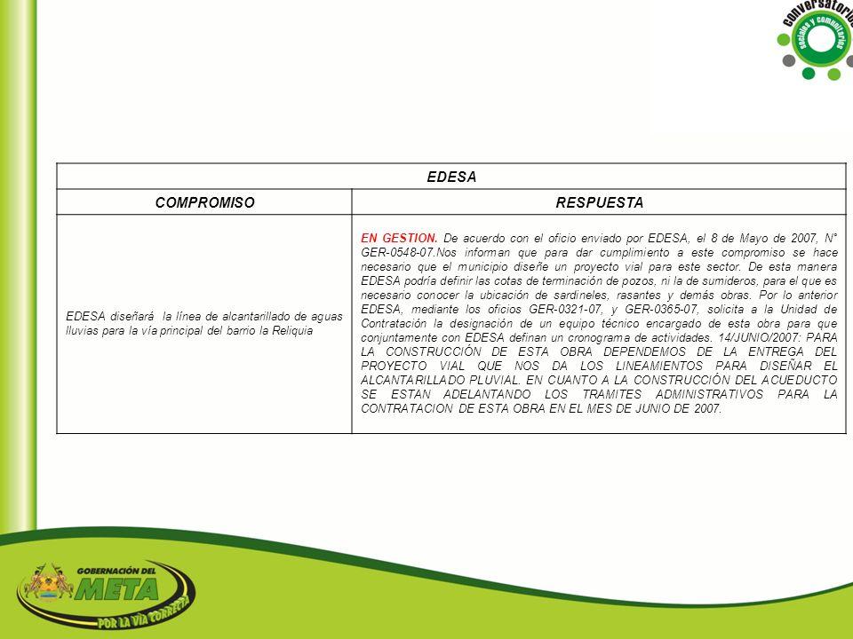 EDESA COMPROMISO RESPUESTA