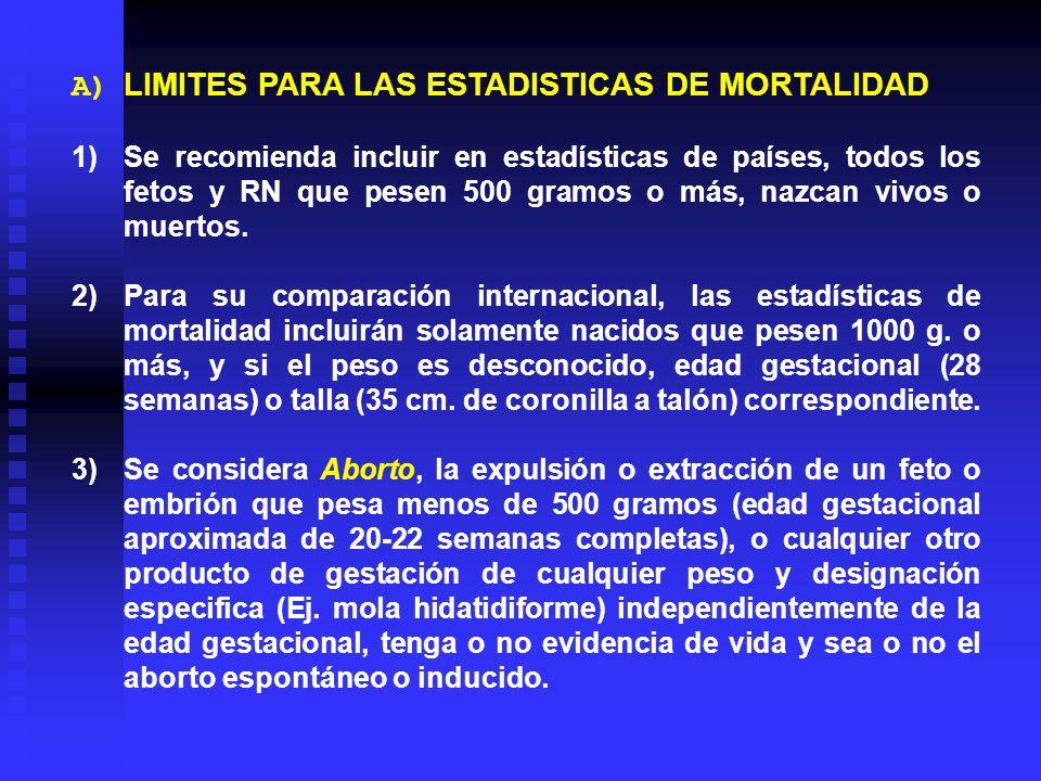 A) LIMITES PARA LAS ESTADISTICAS DE MORTALIDAD