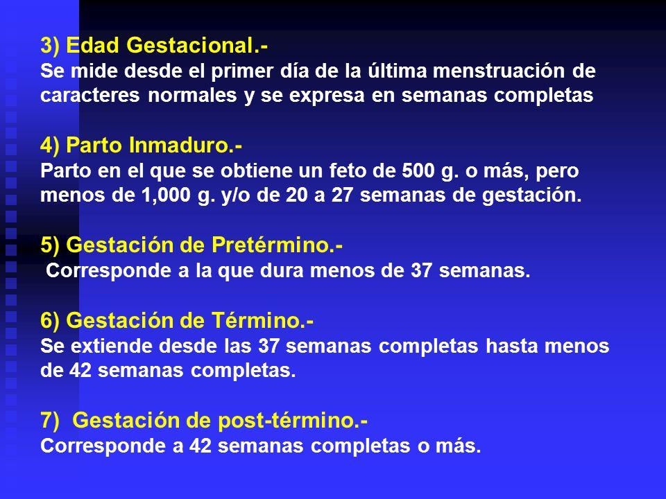 5) Gestación de Pretérmino.-