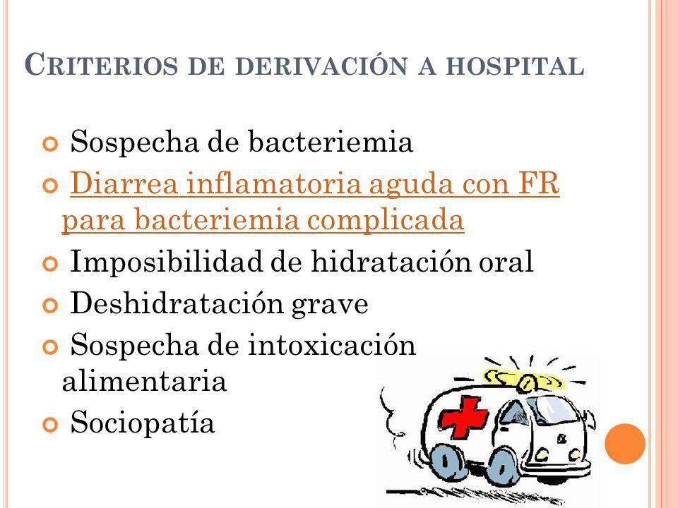 Criterios de derivación a hospital