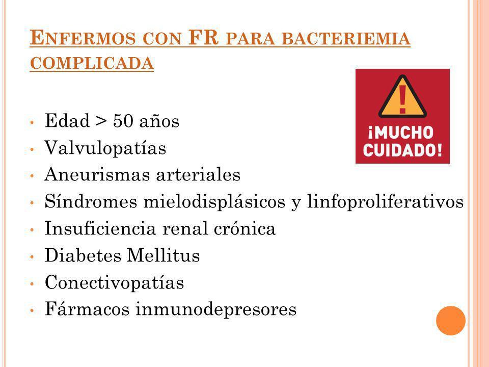 Enfermos con FR para bacteriemia complicada