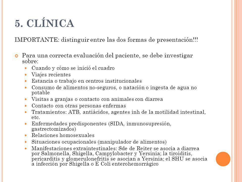 5. CLÍNICA IMPORTANTE: distinguir entre las dos formas de presentación!!! Para una correcta evaluación del paciente, se debe investigar sobre: