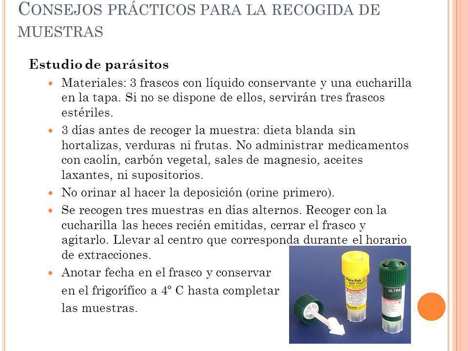 Consejos prácticos para la recogida de muestras