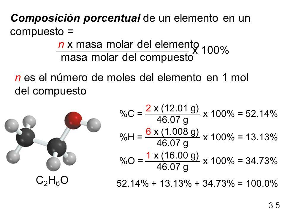 Composición porcentual de un elemento en un compuesto =
