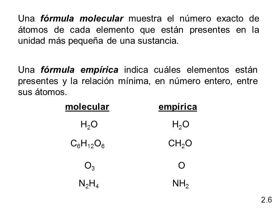 Una fórmula molecular muestra el número exacto de átomos de cada elemento que están presentes en la unidad más pequeña de una sustancia.