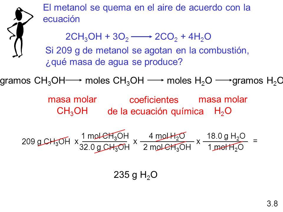 El metanol se quema en el aire de acuerdo con la ecuación