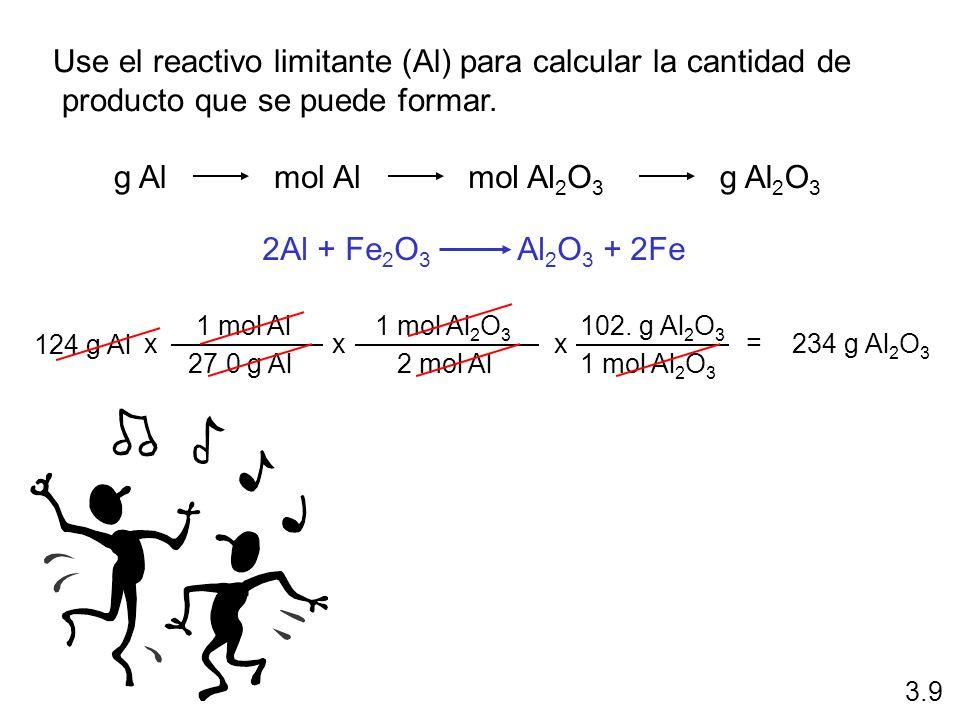 Use el reactivo limitante (Al) para calcular la cantidad de