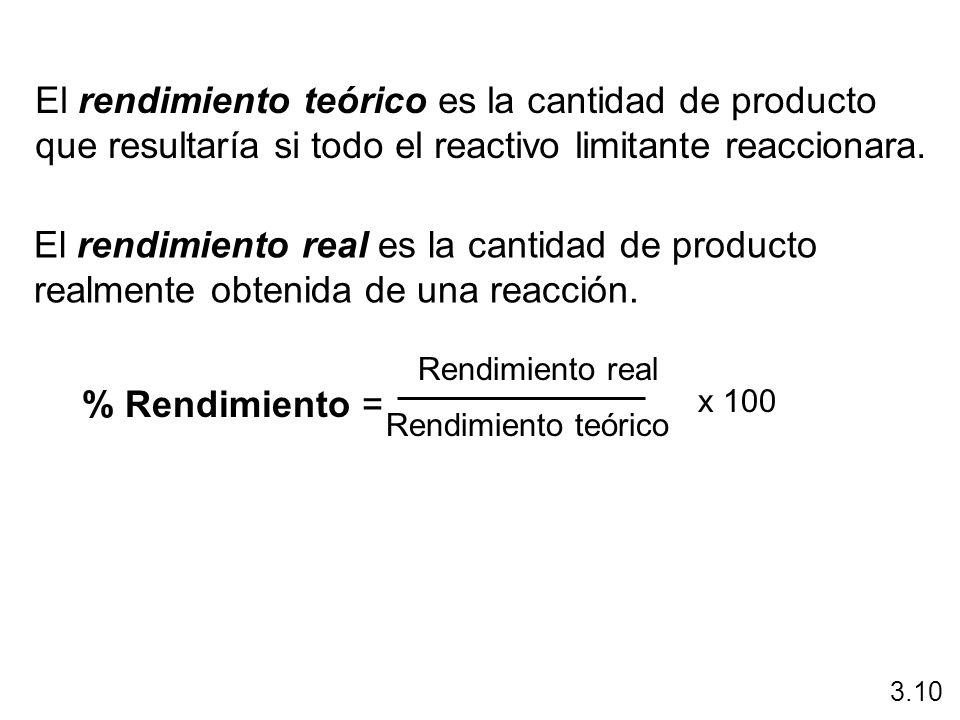 El rendimiento teórico es la cantidad de producto