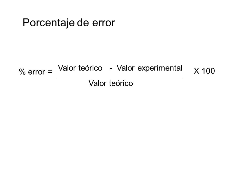 Porcentaje de error Valor teórico - Valor experimental X 100 % error =