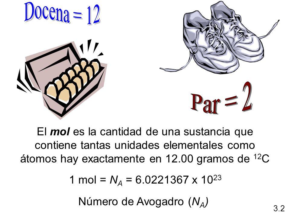 Docena = 12 Par = 2 El mol es la cantidad de una sustancia que