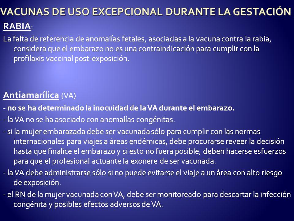 VACUNAS DE USO EXCEPCIONAL DURANTE LA GESTACIÓN