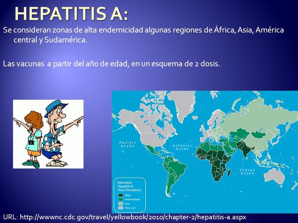 HEPATITIS A:Se consideran zonas de alta endemicidad algunas regiones de África, Asia, América central y Sudamérica.