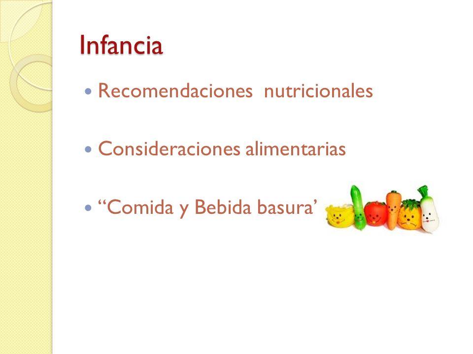 Infancia Recomendaciones nutricionales Consideraciones alimentarias