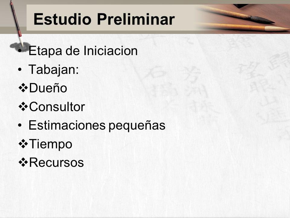 Estudio Preliminar Etapa de Iniciacion Tabajan: Dueño Consultor