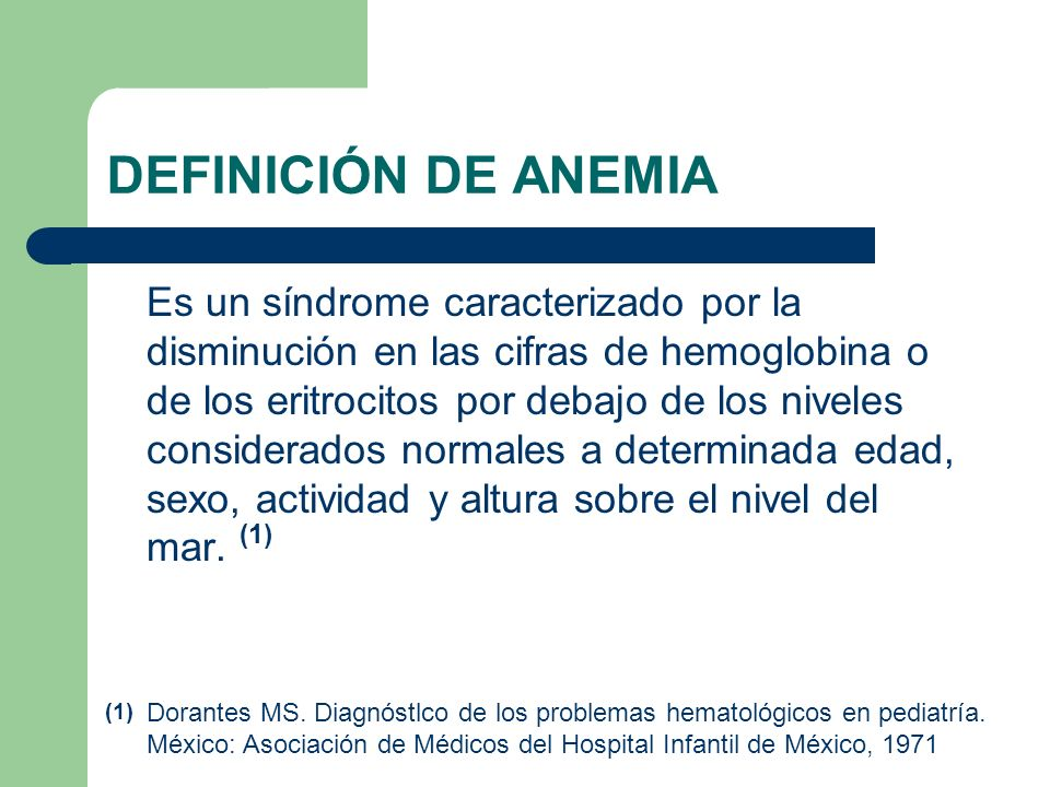 DEFINICIÓN DE ANEMIA