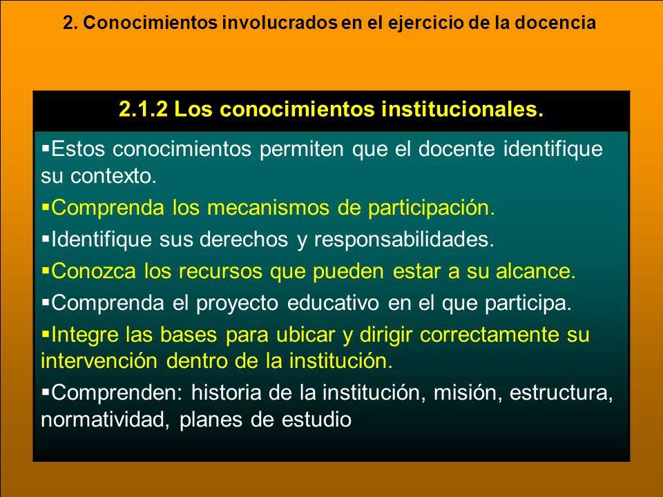 2.1.2 Los conocimientos institucionales.