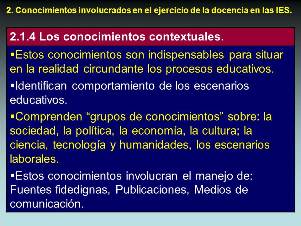 2.1.4 Los conocimientos contextuales.