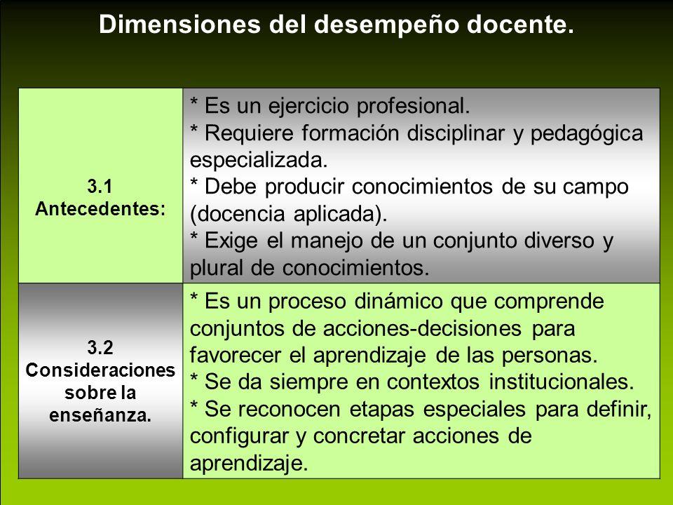 3.2 Consideraciones sobre la enseñanza.