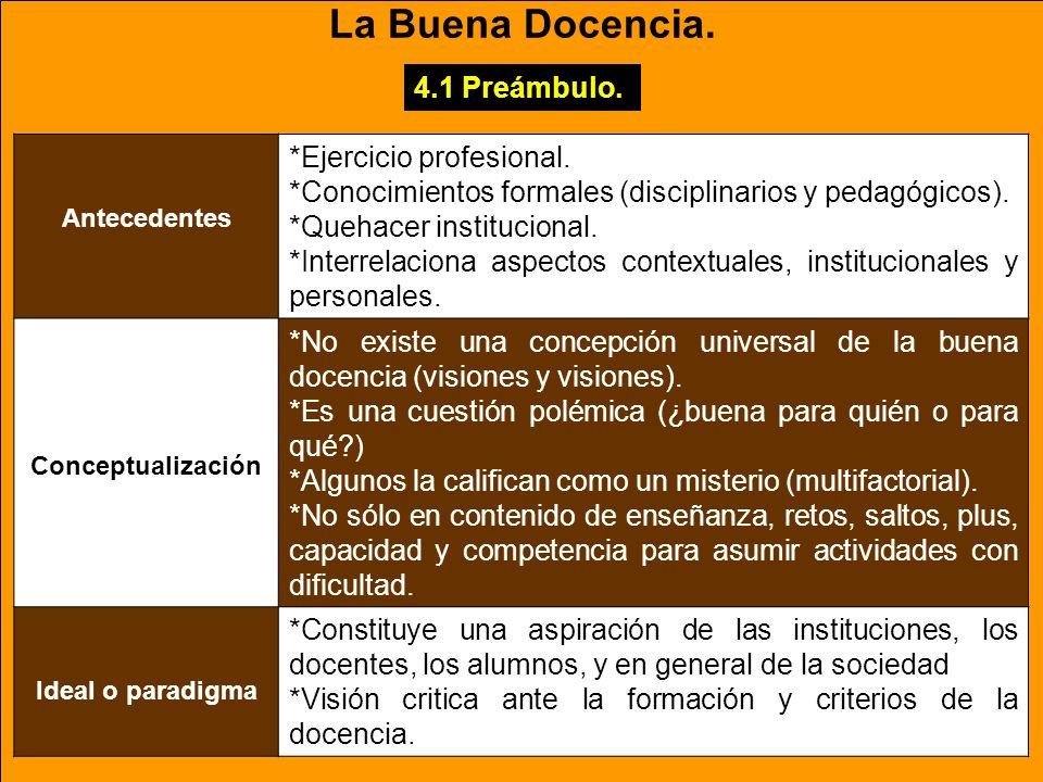 La Buena Docencia. 4.1 Preámbulo. *Ejercicio profesional.