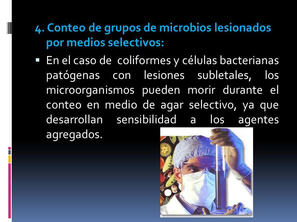4. Conteo de grupos de microbios lesionados por medios selectivos: