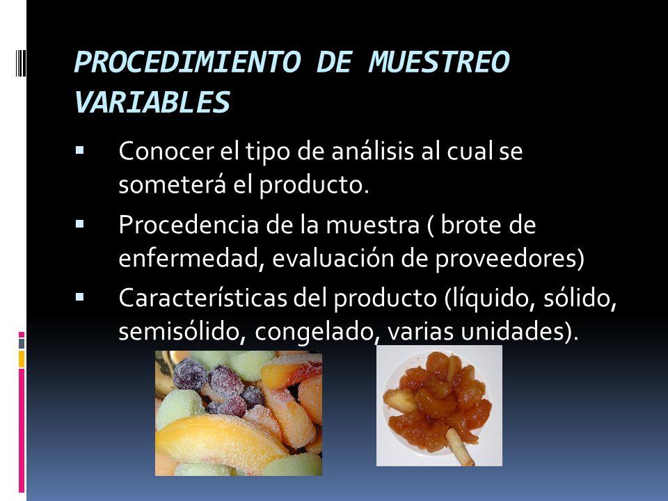 PROCEDIMIENTO DE MUESTREO VARIABLES